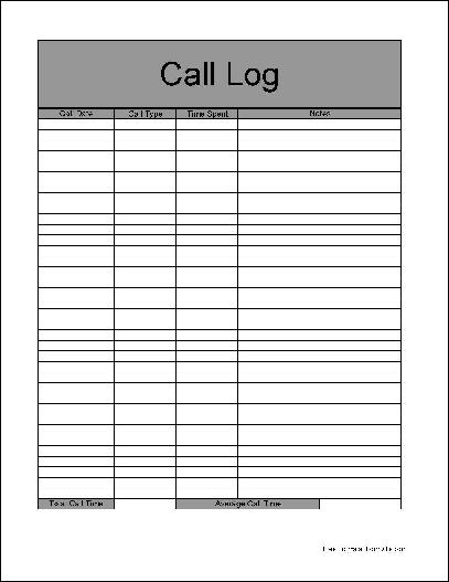 Free Basic Call Log Form From Formville