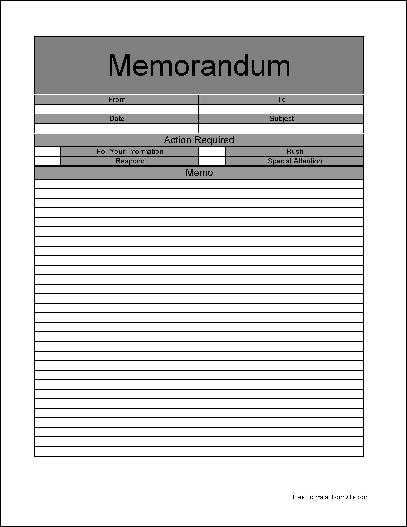 Free Basic Interoffice Memorandum Form from Formville