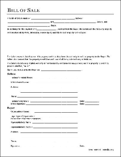 General Bill Of Sale Form  BesikEightyCo