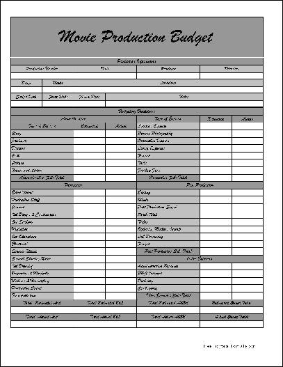 Free Fancy Movie Production Budget Form From Formville