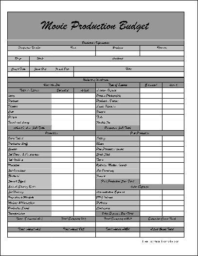Free Fancy Wide Row Movie Production Budget Form from Formville