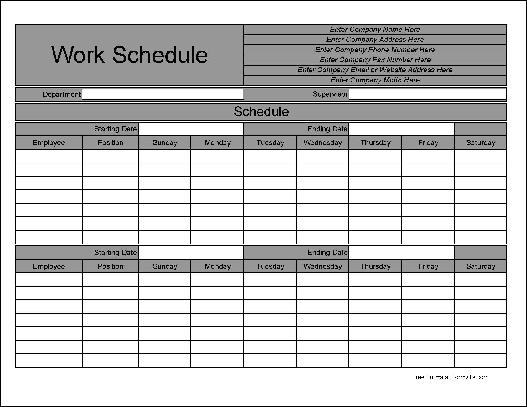 Free Personalized Wide Row Biweekly Work Schedule From Formville