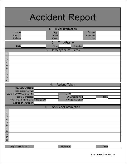 Free Childcare Report Log Accident Basic Wide Row