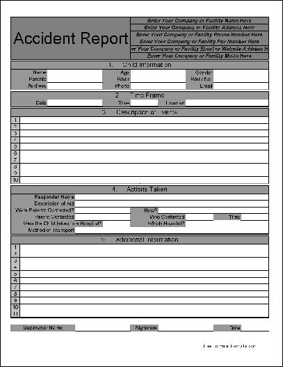 You Can Download A PDF Version Of The Personalized Numbered Rows And Sections Childcare Accident Report Form Absolutely Free