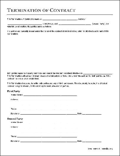 Free printable contract forms
