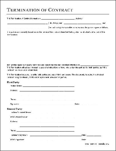 Free Termination of Contract Individual to Husband and Wife from – Free Termination Form
