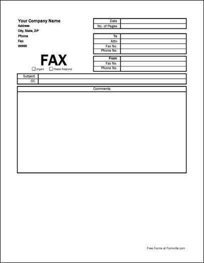 Free Company Fax Cover Sheet from Formville