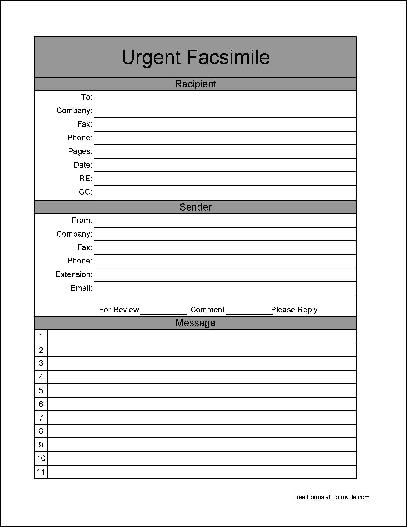 Free Basic Urgent Fax Cover Sheet Wide Numbered Lines From Formville