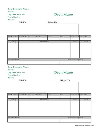 Free Debit Memo from Formville – Debit Memo Template