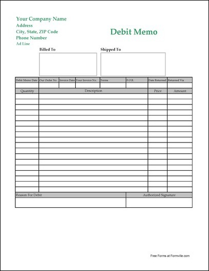 Free Easy Read Long Debit Memo from Formville – Debit Memo Template