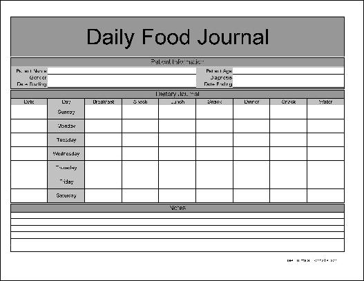 free basic daily food journal from formville