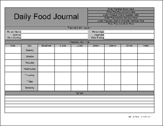 "Here is a preview of the ""Personalized Daily Food Journal"" form:"