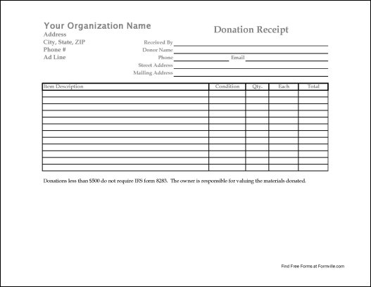 Donation Receipt Form Template for Pinterest