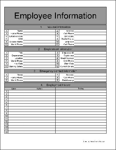 Employee Form. Free Printable Employee Contact Form Pro-Employee