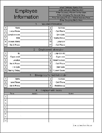 Free personalized wide numbered row employee information form from formville for Formville