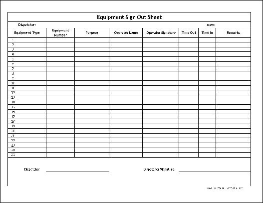 Sample Equipment Sign Out Sheet  Sample Ideas