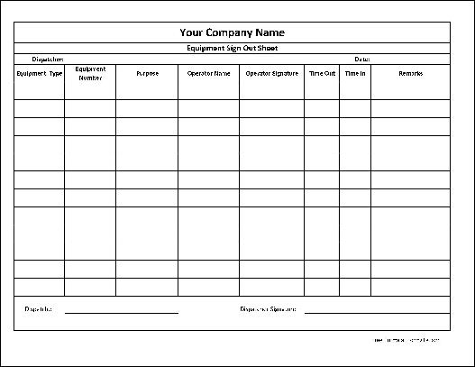 Free Personalized Equipment Sign Out Sheet (Wide Row) from Formville