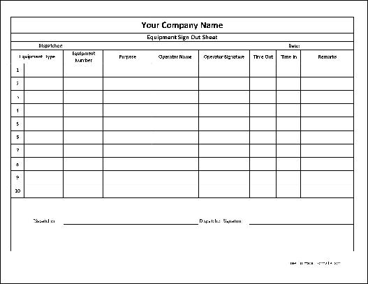 equipment check out sheet template