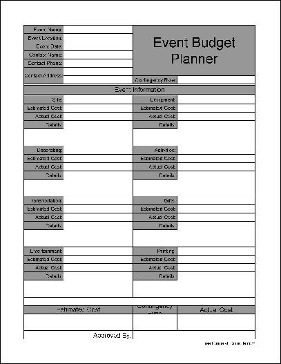 Free Wide Rowed Event Budget Planner from Formville