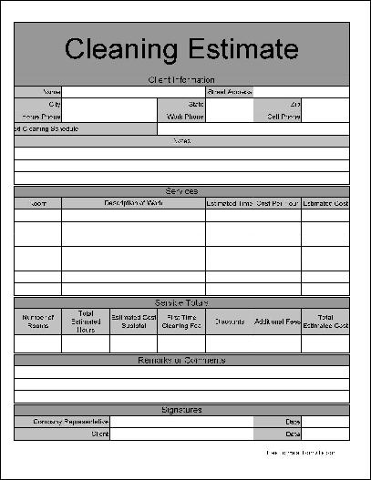 Cleaning service proposal cleaning bid sheet for Written estimate template