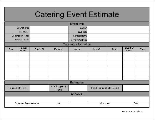 Free Wide Row Basic Catering Event Estimate From Formville