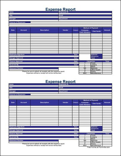 Free small detailed contractor expense report from formville for Formville