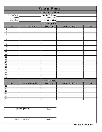 you can download a pdf version of the basic numbered catering planner form absolutely free you can also for a small payment download a fully editable