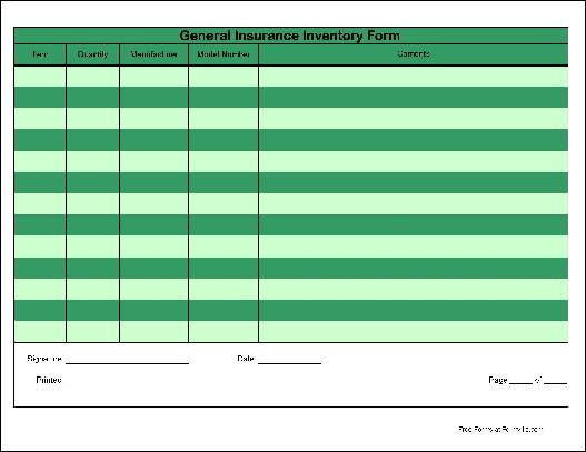 Free Basic Wide Rows General Insurance Inventory Form from Formville