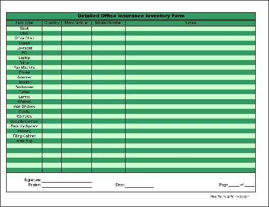 Free Basic Detailed Office Inventory Form from Formville – Office Inventory Spreadsheet