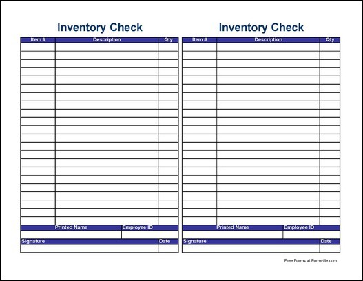 Free Small Simple Physical Inventory Check Sheet (Tall) from Formville