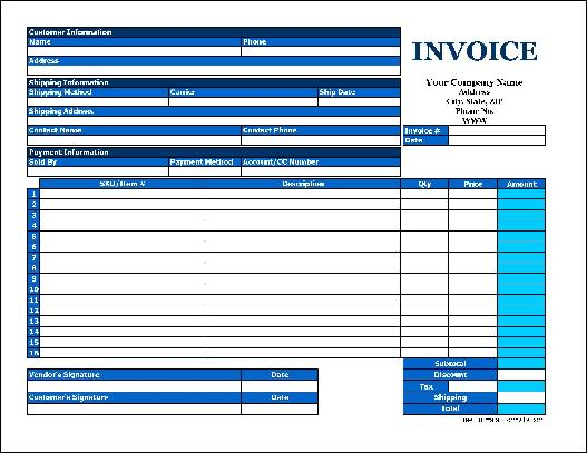 Free basic product invoice wide from formville for Formville