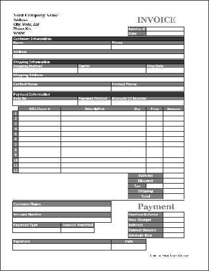 Easy Copy Basic Product Invoice With Payment Stub (Tall)  Product Invoice