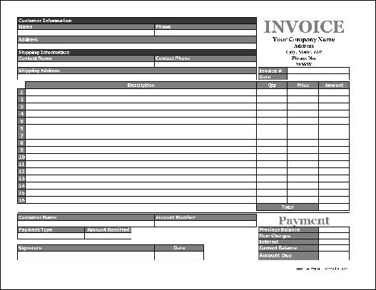 free easy-copy simple product invoice with payment stub (wide, Invoice templates