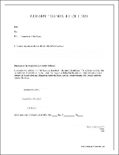 "to Sublet of Lease"" form"