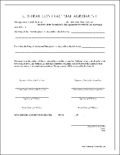 Free Notarized General Contractual Agreement From Formville