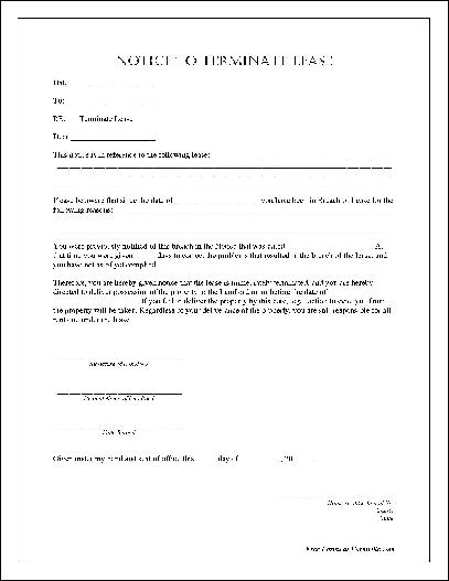 notarized notice to terminate lease
