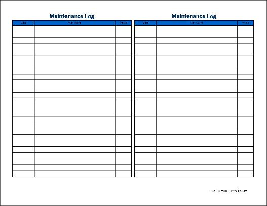 Free Small Simple Maintenance Log (Tall) from Formville