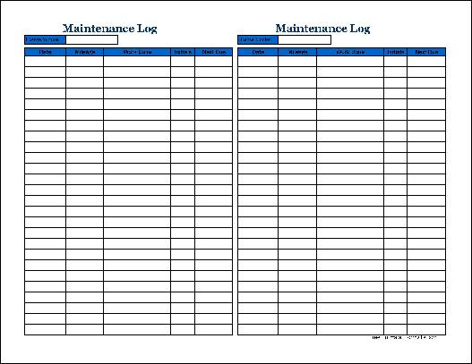 Free Small Simple Automotive Maintenance Log (Tall) from Formville