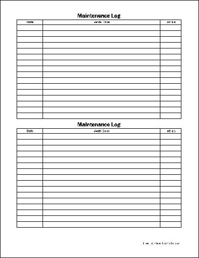 Free Easy-Copy Small Simple Maintenance Log (Wide) from Formville