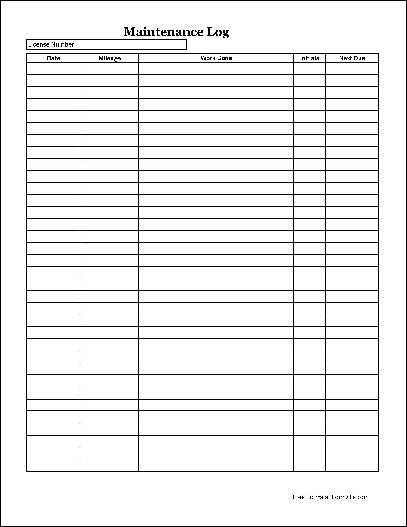 Free Easy-Copy Simple Automotive Maintenance Log (Long) from Formville