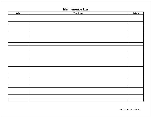 Free Easy-Copy Simple Maintenance Log (Wide) from Formville