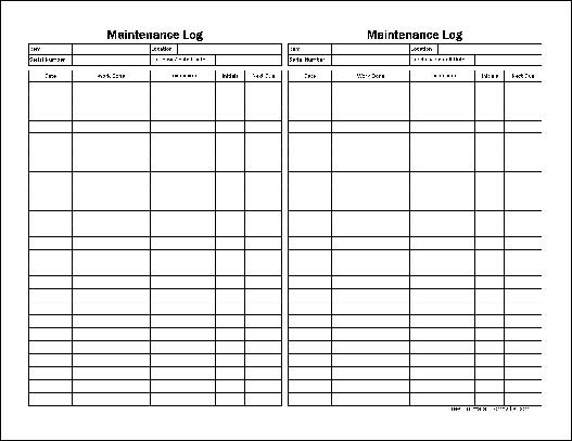 Free Easy-Copy Small Detailed Maintenance Log (Tall) from Formville