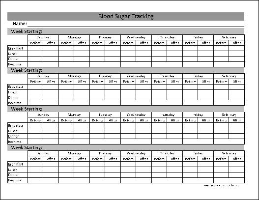 Type 1 2 Diabetes, Blood Sugar Log Excel