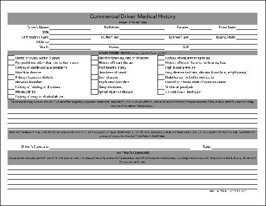 You Can Download A PDF Version Of The Basic Commercial Driver Medical History Form Absolutely Free Also For Small Payment Fully