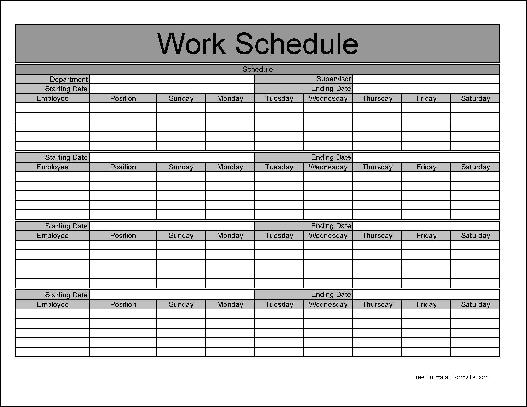 Monthly Work Schedule Templates