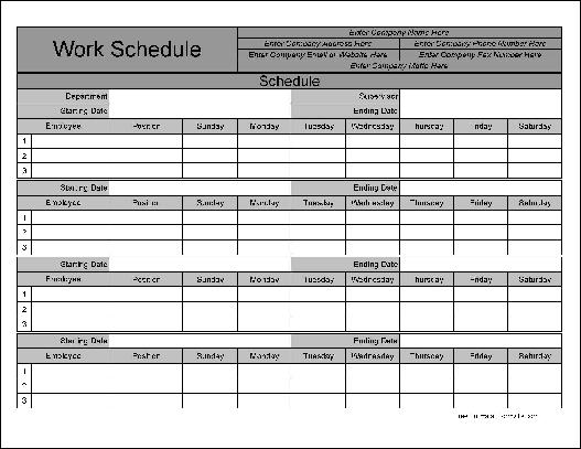 free personalized wide numbered row monthly work schedule from formville