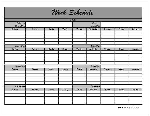 monthly staff schedule template