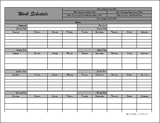 Work Schedule  Hour Weekday Work Schedule Template Work