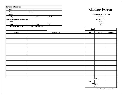 Free Easy-Copy Basic Order Form (Wide) From Formville