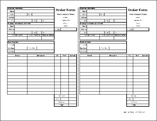 Free Easy-Copy Small Detailed Order Form With Duplicate (Tall